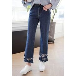Miamasvin - Distressed Boot-Cut Jeans