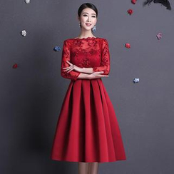 Fantasy Bride - 3/4-Sleeve Lace Panel Evening Gown