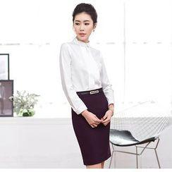 Aision - Long-Sleeve Shirt / Pencil Skirt / Vest