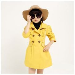 aurinko - Kids Lace Trim Double-Breasted Trench Coat