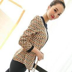 Colorful Shop - Contrast-Collar Patterned Chiffon Shirt