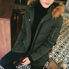Eight Degrees - Furry Hooded Padded Long Coat