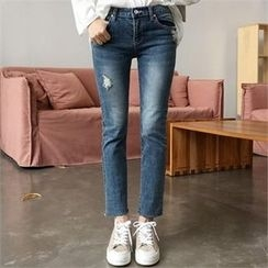 QNIGIRLS - Distressed Straight-Cut Jeans