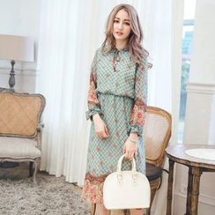 Tokyo Fashion - Long-Sleeve Tie-Neck Printed Dress
