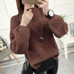 anzoveve - Chunky Knit Mock Neck Sweater