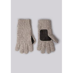 GOROKE - Faux-Leather Patch Knit Gloves