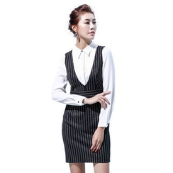 Aision - Striped Blazer / Striped Jumper Dress / Blouse