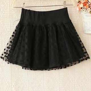 Ringnor - Polka-Dot Mesh-Overlay A-Line Skirt
