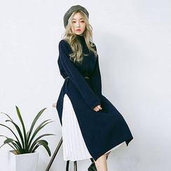 chuu - Turtle-Neck Wool Blend Knit Long Dress