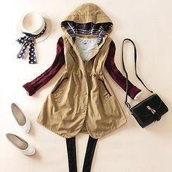 LittleSecret - Knit-Sleeve Hood Trench Coat