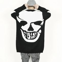 Remember Click - Skull Printed Long Cardigan