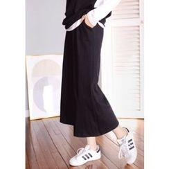 DEEPNY - Set: Long-Sleeve Layered Top + Cropped Wide-Leg Pants