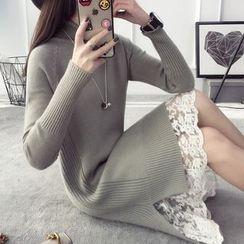 Qimi - Turtleneck Side Slit Sweater Dress