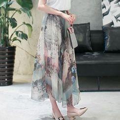Cobogarden - Flower Accent Tie Waist Chiffon Maxi Skirt