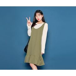 HOTPING - Inset Bell-Sleeve Top Ruffle-Hem Dress