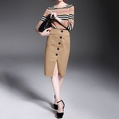 Alaroo - Set: Striped Long-Sleeve Knit Top + Buttoned Pencil Skirt
