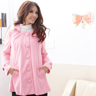RingBear - Faux Fur-Trim Single-Breasted Hooded Wool Coat