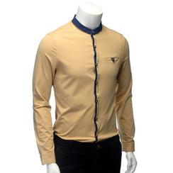 YesStyle M - Mandarin Collar Contrast Trim Shirt