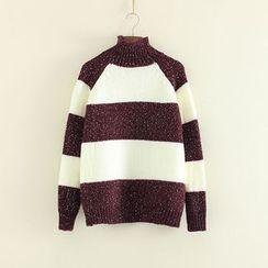 Mushi - Striped High Neck Sweater
