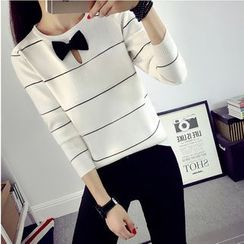 Pumpernickel - Bow Accent Striped Long Sleeve Knit Top