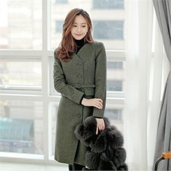 Styleberry - V-Neck Coatdress with Belt