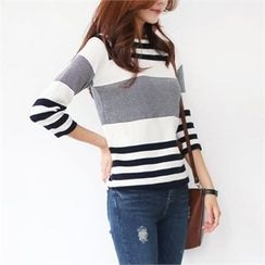 YOOM - Stripe Raglan-Sleeve Knit Top