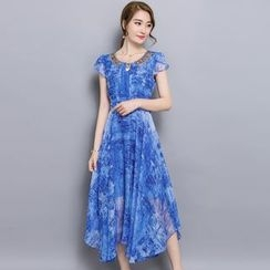 Hummingbird - Printed Sequined Cap Sleeve Chiffon Midi Dress