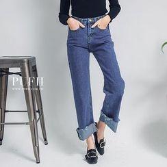 PUFII - 复古单宁原色系中腰不修边裤管单宁牛仔宽裤