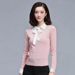 Sentubila - Bow Detail Collared Sweater