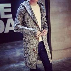 LIBIN - Melange Long Hooded Cardigan