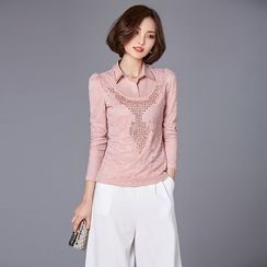 Jiuni - Rhinestone Long-Sleeve Lace Top