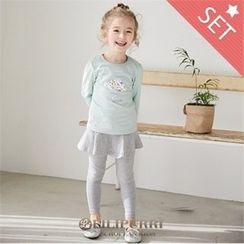 LILIPURRI - Set: Printed T-Shirt + Inset Skirt Leggings