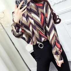 ZAPPA - Set: Printed Long-Sleeve Blouse + Slit Hem Pants