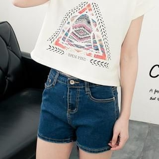 CUTIE FASHION - High-Waist Denim Shorts
