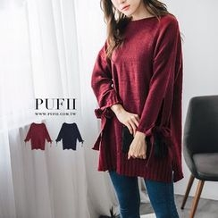 PUFII - Bow Accent Knit Dress