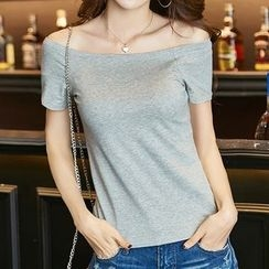 Adima - Off-Shoulder Short-Sleeve T-Shirt