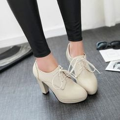 Pangmama - Faux-Leather High-Heel Oxford Shoes