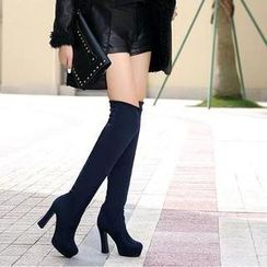 JY Shoes - Platform Heeled Over the Knee Boots