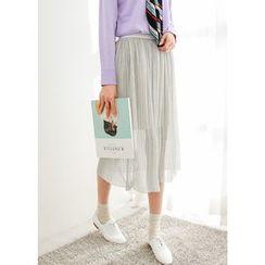 J-ANN - Glittered Pleat Long Skirt