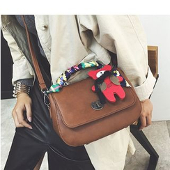 Aishang - Wrapped Scarf Handle Satchel with Bear Charm