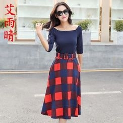 AiSun - Set: Boat Neck Elbow-Sleeve Top + Plaid Skirt