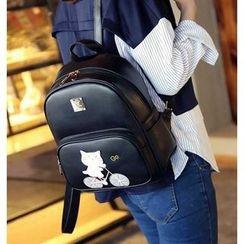 Merlain - 套装: 猫咪贴饰背包 + 拉链包 + 卡包