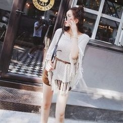 Tang House - Set: Fringed Cape Sweater + Faux Leather Shorts