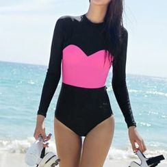 Roseate - Two-Tone Long-Sleeve Swimsuit