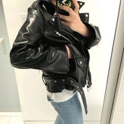 DISCOSALON - Faux-Leather Flight Jacket