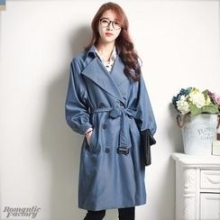 Romantic Factory - Double-Breasted Trench Coat with Sash