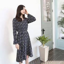 Hello sweety - Ruffle-Hem Floral Print Dress