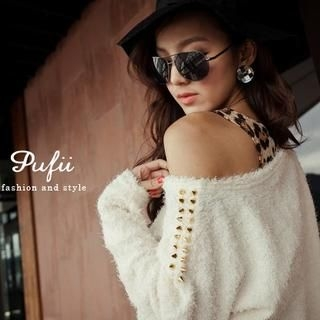 PUFII - Set: Studded Knit Top + Leopard Print Tank Dress
