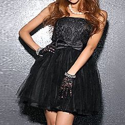 Holiday Lady - Lace Strapless Mini Prom Dress