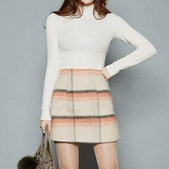 chuu - Plaid Wool Blend Mini Skirt